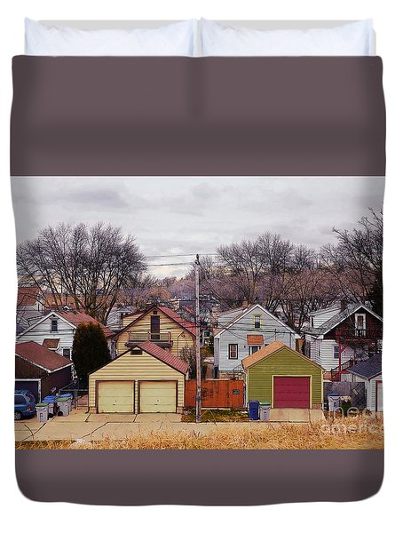 Garages Duvet Cover
