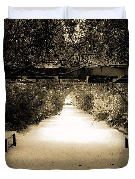 Garden Arbor In Sepia Duvet Cover by DigiArt Diaries by Vicky B Fuller
