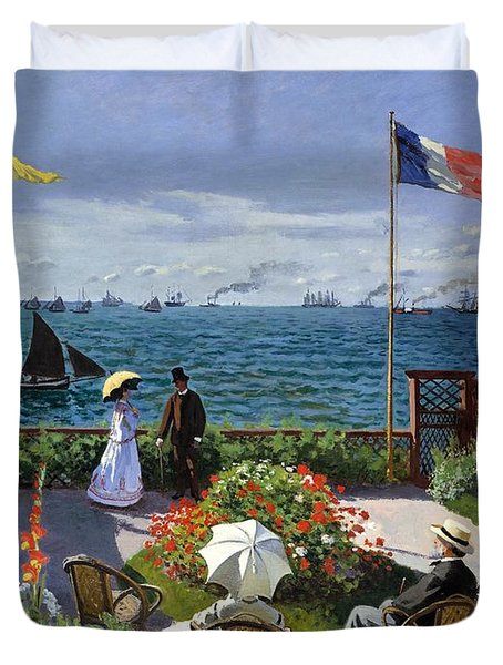 Garden At Sainte Adresse By Claude Monet Duvet Cover
