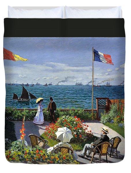 Garden At Sainte Adresse By Claude Monet Duvet Cover