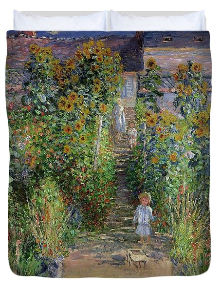 Garden At Vetheuil Duvet Cover By Claude Monet