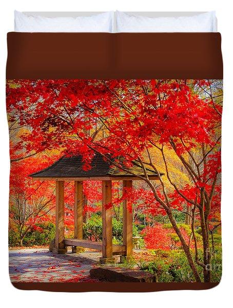 Duvet Cover featuring the photograph Garden Bench by Geraldine DeBoer