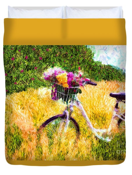 Garden Bicycle Print Duvet Cover