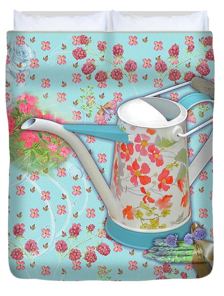 Duvet Cover featuring the mixed media Garden Blessings by Nancy Lee Moran