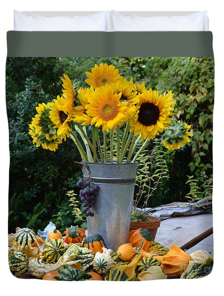 Garden Bounty In Yellow And Green Duvet Cover