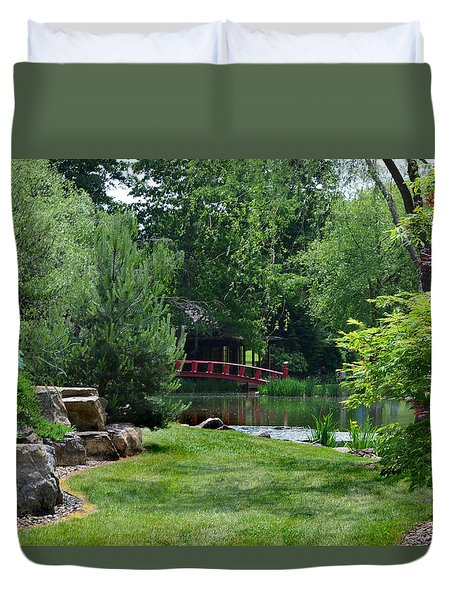 Duvet Cover featuring the photograph Garden Bridge by Kathleen Stephens