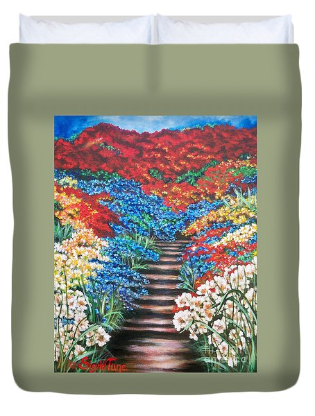 Red White And Blue Garden Cascade.               Flying Lamb Productions  Duvet Cover