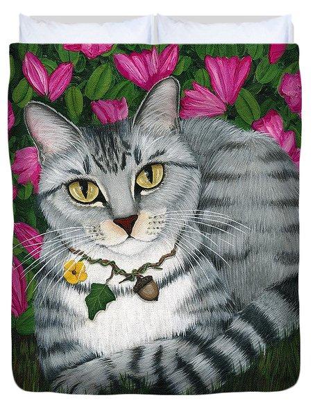 Garden Cat - Silver Tabby Cat Azaleas Duvet Cover