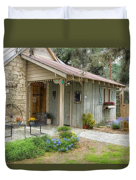 Duvet Cover featuring the tapestry - textile Garden Cottage by Kathy Adams Clark