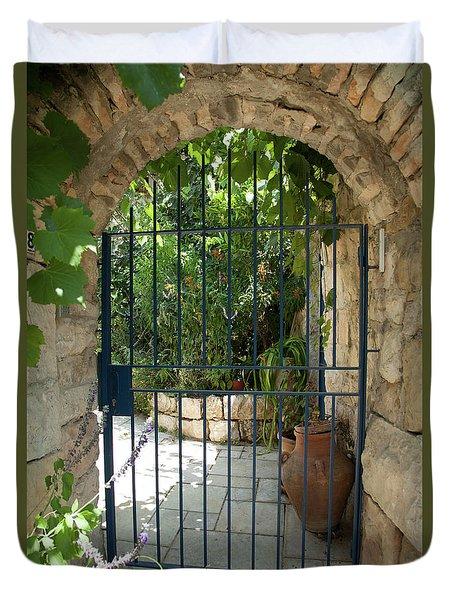 Duvet Cover featuring the photograph Garden Door Entrance by Yoel Koskas
