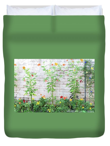 Duvet Cover featuring the photograph Garden Florals by Carolyn Dalessandro