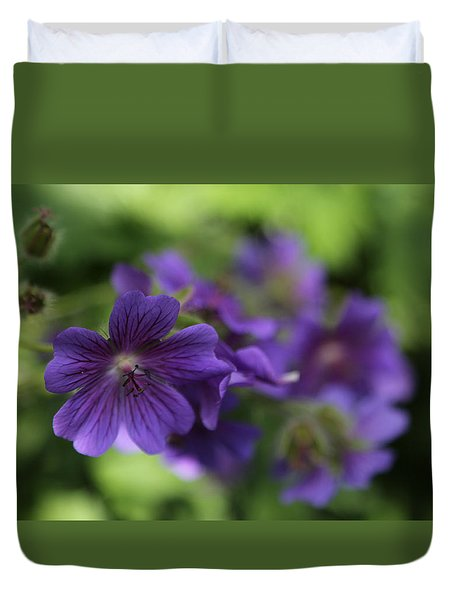Duvet Cover featuring the photograph garden Flowers June 15 2015 by Jim Vance
