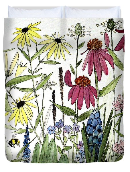 Garden Flowers With Bees Duvet Cover