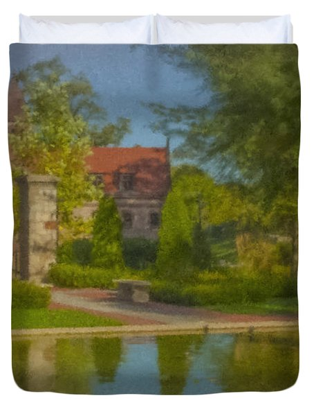Garden Fountain At Ames Free Library Duvet Cover