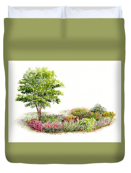 Garden Fresh Watercolor Painting Duvet Cover