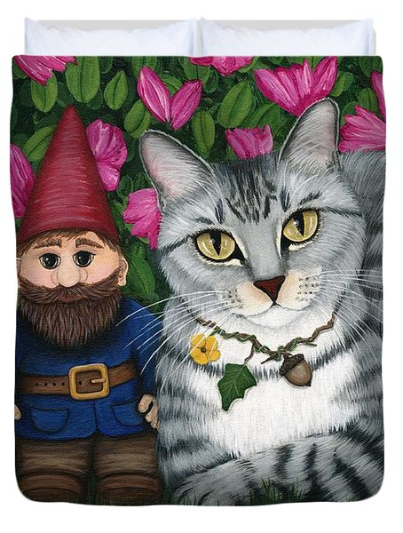 Garden Friends - Tabby Cat And Gnomes Duvet Cover