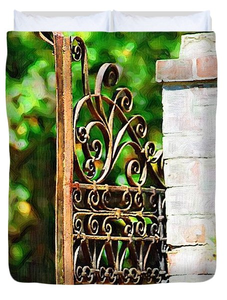 Duvet Cover featuring the photograph Garden Gate by Donna Bentley