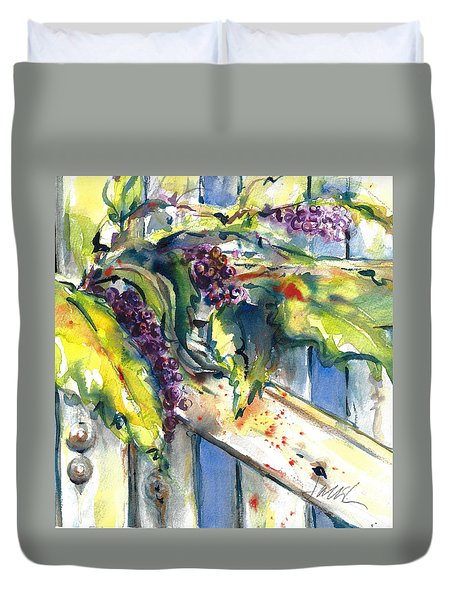 Garden Gate In Fall With Poke Berries  Duvet Cover