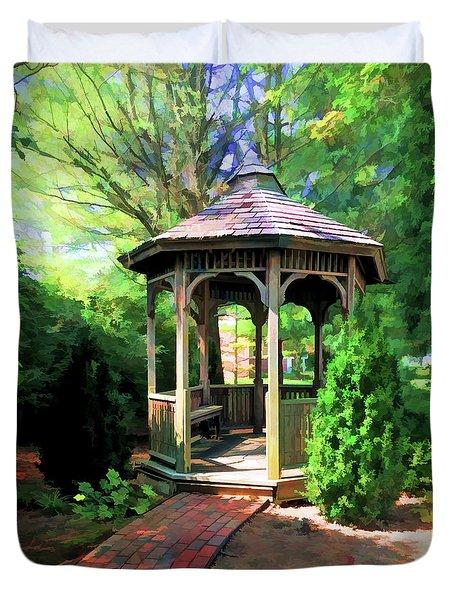 Duvet Cover featuring the photograph Garden Gazebo by Kerri Farley