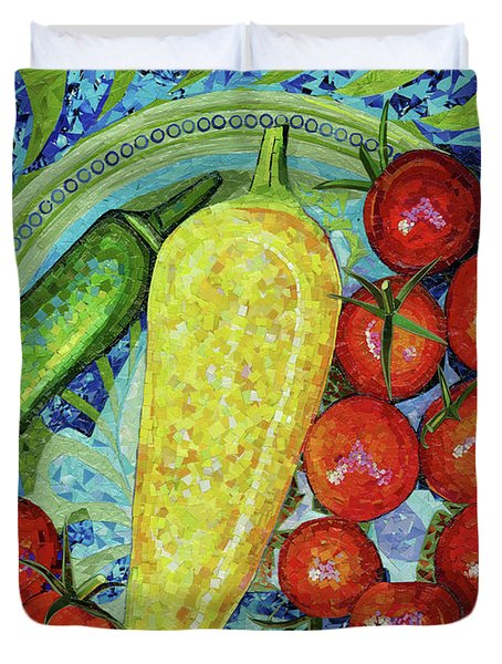 Duvet Cover featuring the mixed media Garden Harvest by Shawna Rowe