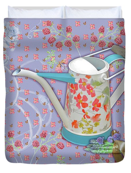 Duvet Cover featuring the mixed media Garden Joys In Lovely Lavender by Nancy Lee Moran