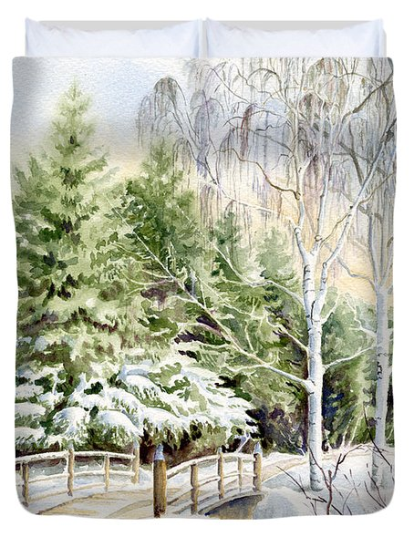 Garden Landscape Winter Duvet Cover