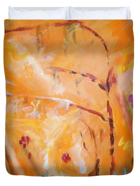 Duvet Cover featuring the painting Garden Moment by Winsome Gunning