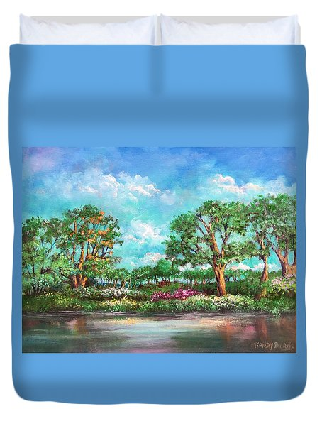Duvet Cover featuring the painting  Summer In The Garden Of Eden by Randol Burns