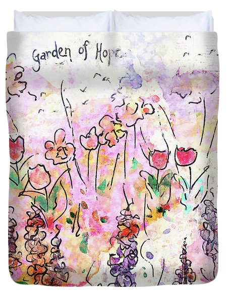 Duvet Cover featuring the painting Garden Of Hope  by Claire Bull