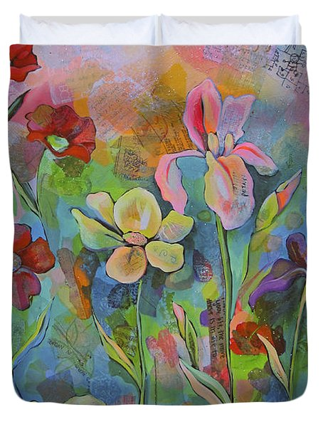 Garden Of Intention - Triptych Center Panel Duvet Cover by Shadia Derbyshire