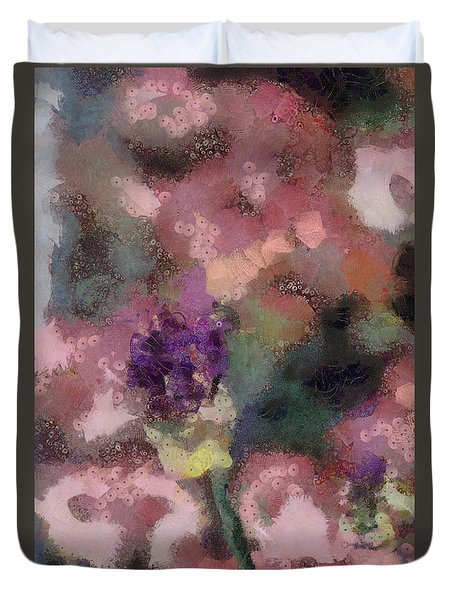 Duvet Cover featuring the mixed media Garden Of Love by Trish Tritz