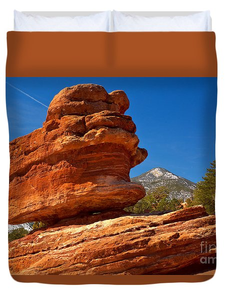 Duvet Cover featuring the photograph Garden Of The Gods Balanced Rock by Adam Jewell