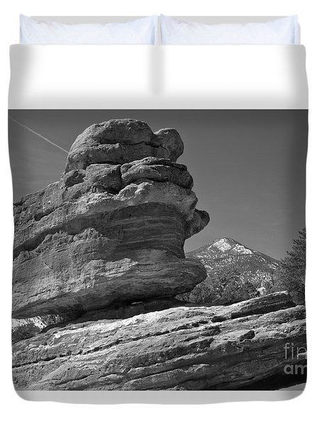 Duvet Cover featuring the photograph Garden Of The Gods Balanced Rock Black And White by Adam Jewell