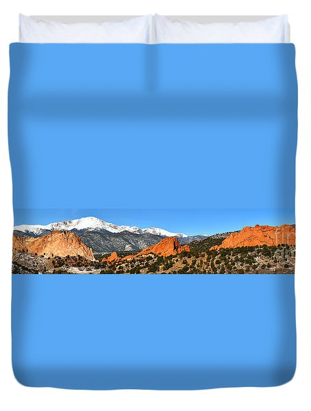 Duvet Cover featuring the photograph Garden Of The Gods Extended Panorama by Adam Jewell