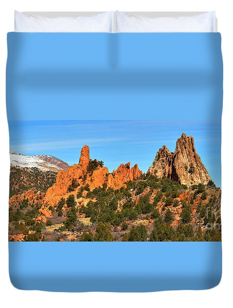 Duvet Cover featuring the photograph Garden Of The Gods High Point Panorama by Adam Jewell