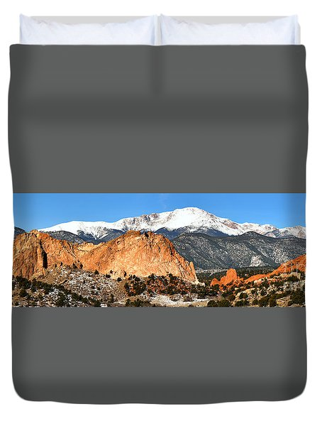 Duvet Cover featuring the photograph Garden Of The Gods Medium Panorama by Adam Jewell