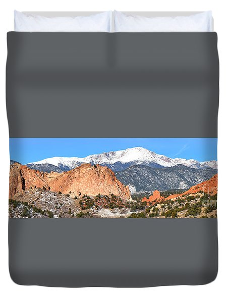 Duvet Cover featuring the photograph Garden Of The Gods Panorama by Adam Jewell