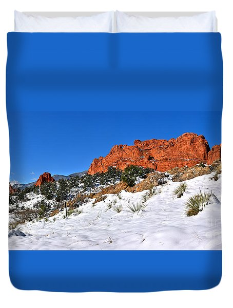 Duvet Cover featuring the photograph Garden Of The Gods Red And White by Adam Jewell