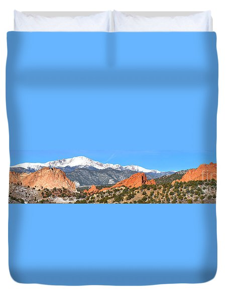 Duvet Cover featuring the photograph Garden Of The Gods Red Rock Panorama by Adam Jewell