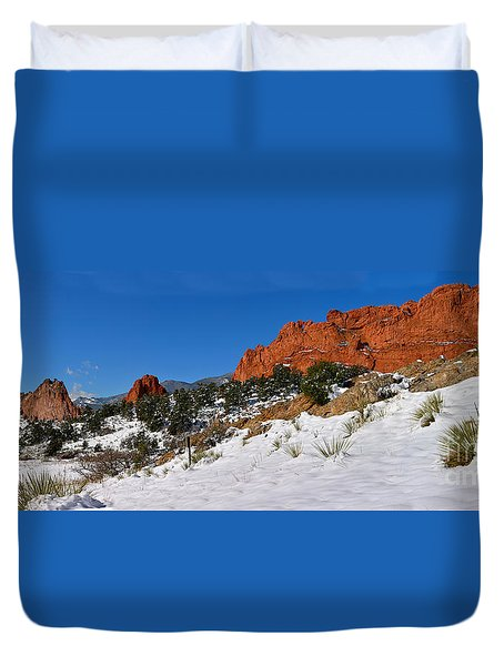 Duvet Cover featuring the photograph Garden Of The Gods Snowy Blue Sky Panorama by Adam Jewell