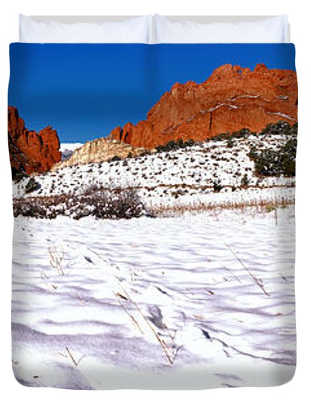 Duvet Cover featuring the photograph Garden Of The Gods Snowy Morning Panorama by Adam Jewell