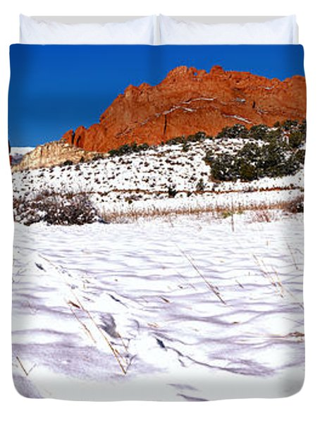 Duvet Cover featuring the photograph Garden Of The Gods Snowy Morning Panorama Crop by Adam Jewell