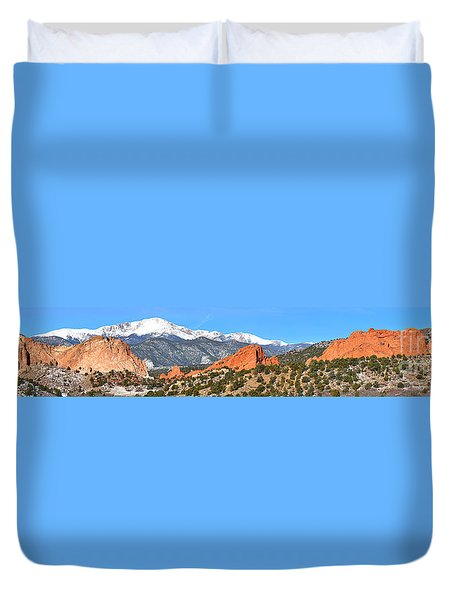 Duvet Cover featuring the photograph Garden Of The Gods Spring Panorama by Adam Jewell