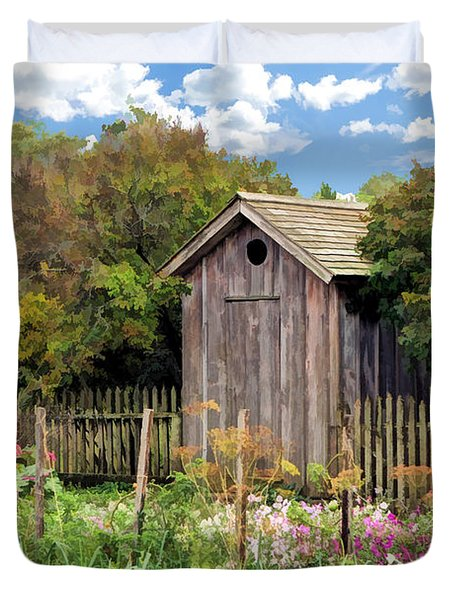 Duvet Cover featuring the painting Garden Outhouse At Old World Wisconsin by Christopher Arndt