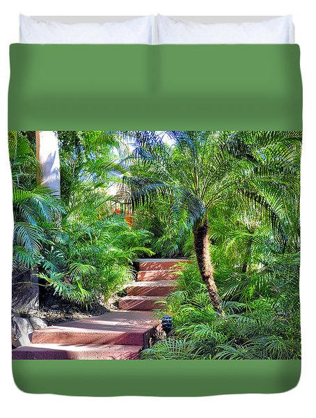 Duvet Cover featuring the photograph Garden Path by Jim Walls PhotoArtist