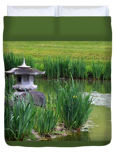 Duvet Cover featuring the photograph Garden Pond by Kathleen Stephens