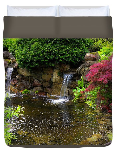 Duvet Cover featuring the photograph Garden Pond by Mim White