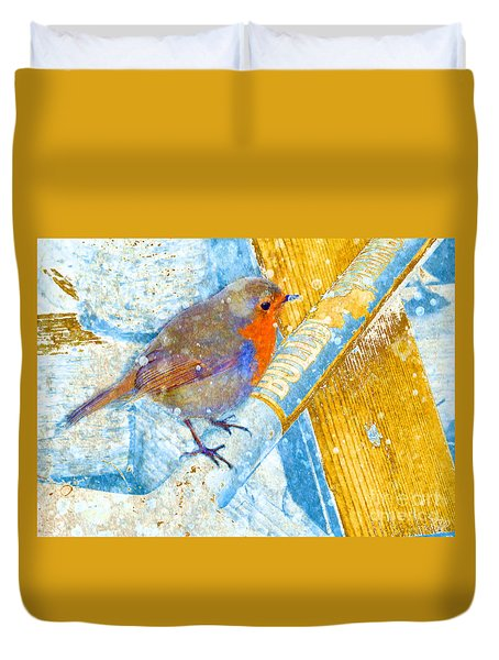 Duvet Cover featuring the photograph Garden Robin by LemonArt Photography