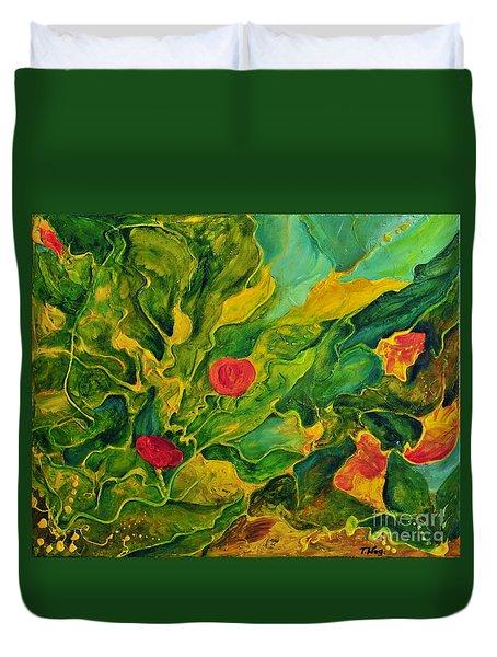 Duvet Cover featuring the painting Garden Series by Teresa Wegrzyn