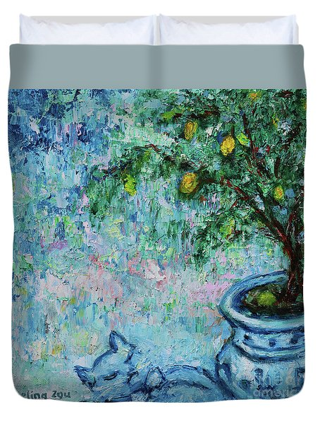 Duvet Cover featuring the painting Garden Sleeping Cat by Xueling Zou